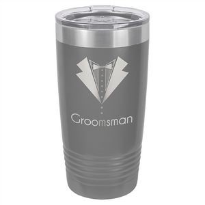 20 oz. Matte Dark Gray Ringneck Vacuum Insulated Tumbler w/Clear Lid